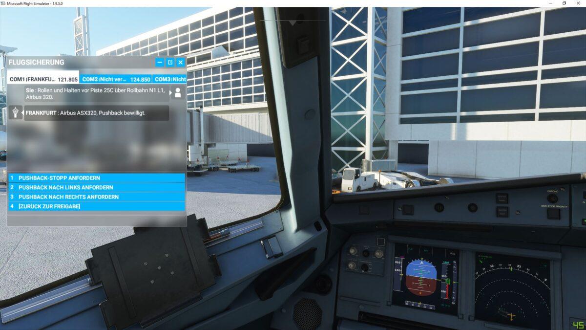 Dialog mit der Flugsicherung in einem Dialogfenster im Flight Simulator 2020