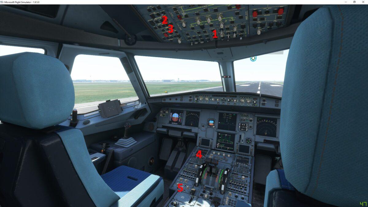 Blick ins Cockpit eines A320neo Airliners mir Pilotensitzen, vielen Instrumenten und Ausblick auf die Startbahn im Flight Simulator 2020