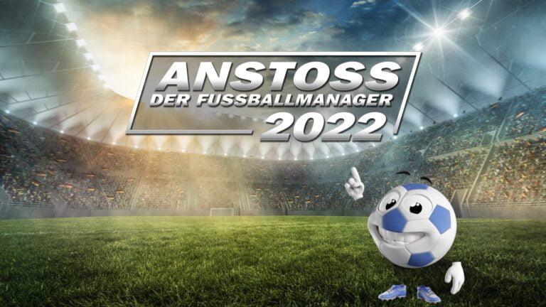 Anstoss 2022 Titelbild zeigt das Logo und den serientypischen Comic-Ball.