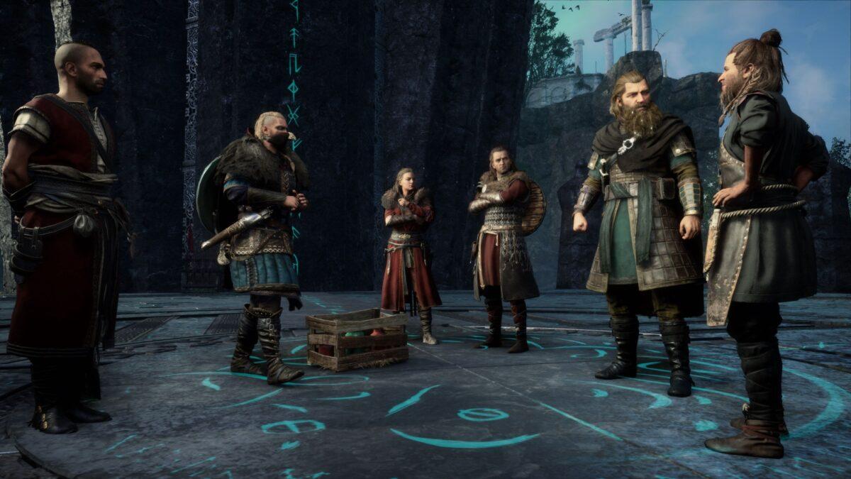 Die Götter von Asgard Loki, Havi, Frejya, Tyr und Thor und der Baumeister in Assassin's Creed Valhalla.