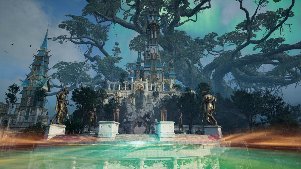 Die Brücke Bifröst führt von in Assassin's Creed Valhalla von Heimdalls Turm zum Schloss von Asgard.