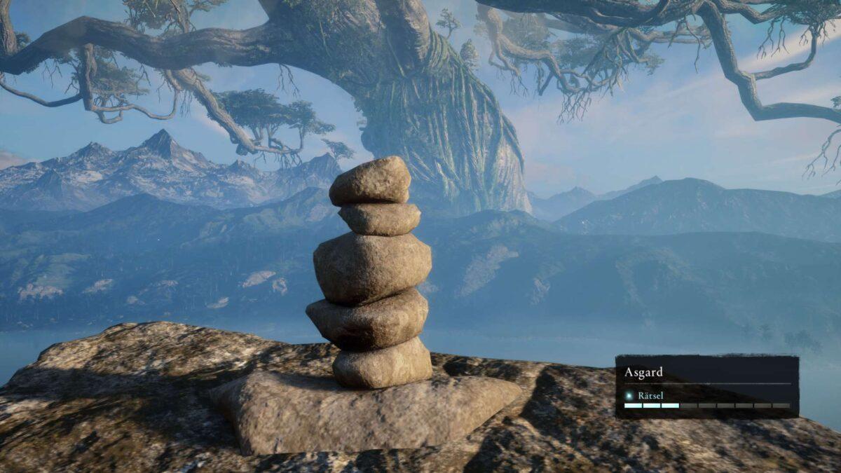 Ein Stapel Steine auf einem Berg in Asgard in Assassin's Creed Valhalla.
