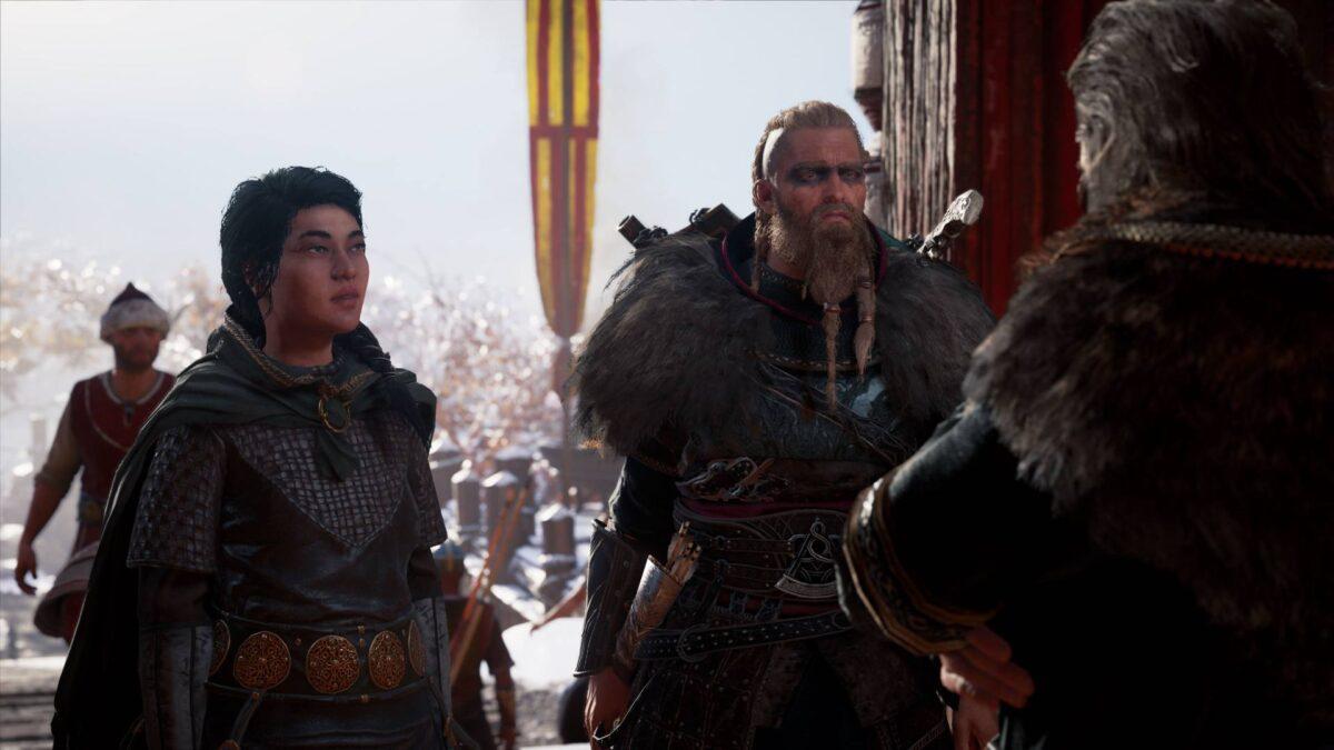 Eivor spricht in Assassin's Creed Valhalla mit Ljufvina und ihrem Mann Hjör.