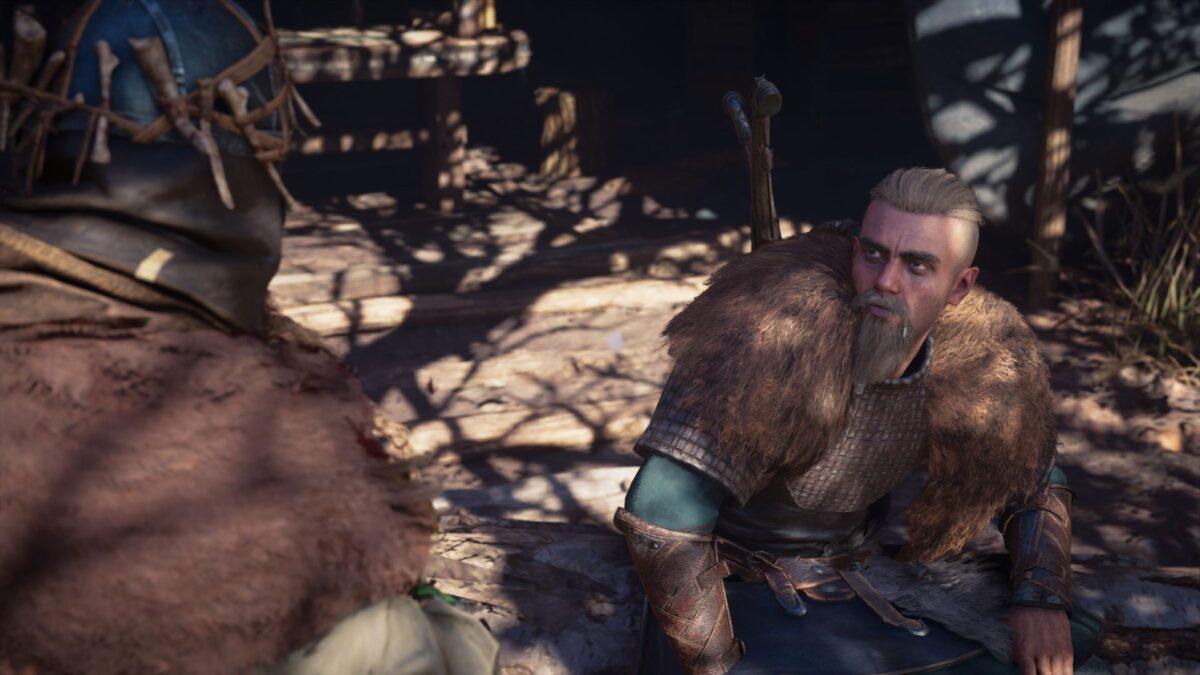 Wikinger Eivor spricht in Assassin's Creed Valhalla mit Faravid.