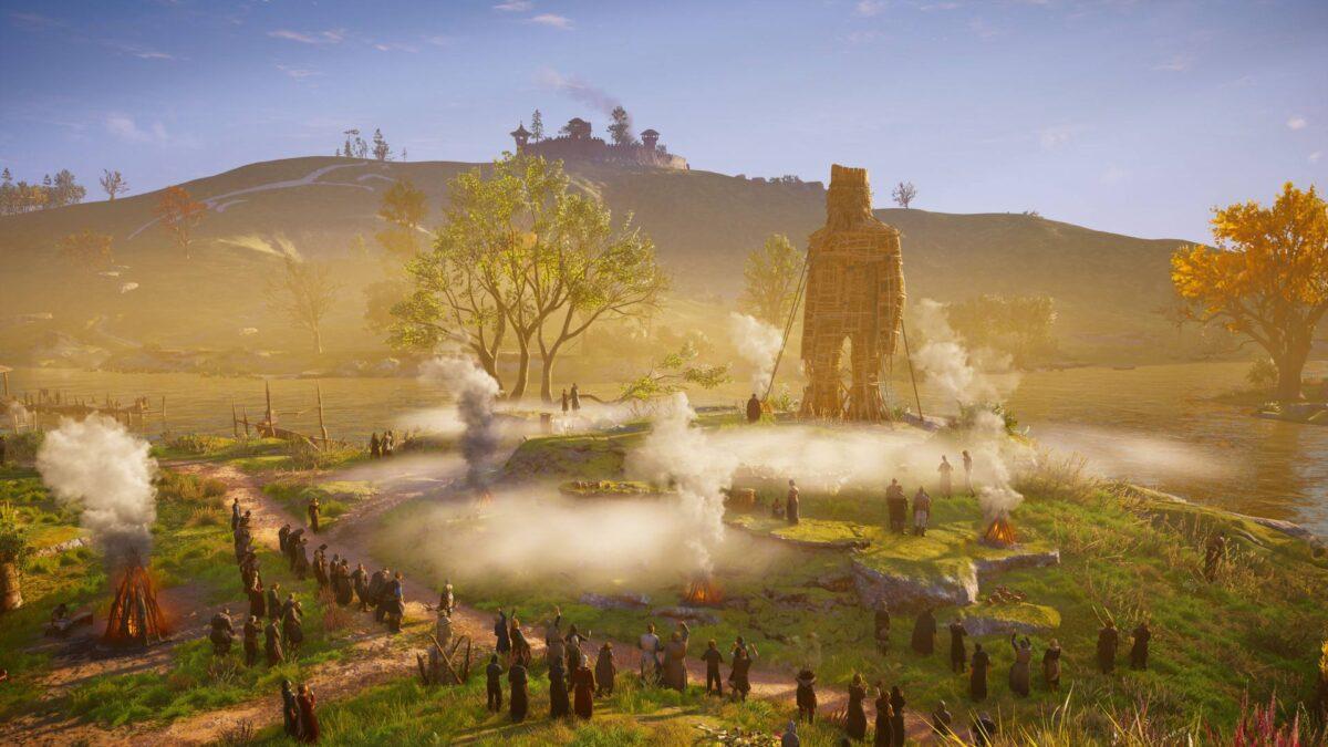 Die Bewohner von Glowecaester haben in Assassin's Creed Valhalla einen übergorßen Weidenmann errichtet.
