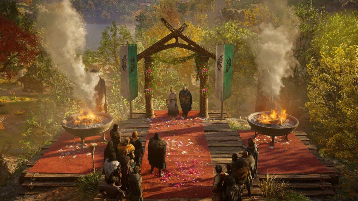 Zum Abschluss von Assassin's Creed Valhalla feiert ihr die Hochzeit von Schmied Gunnar und seiner Brigit.