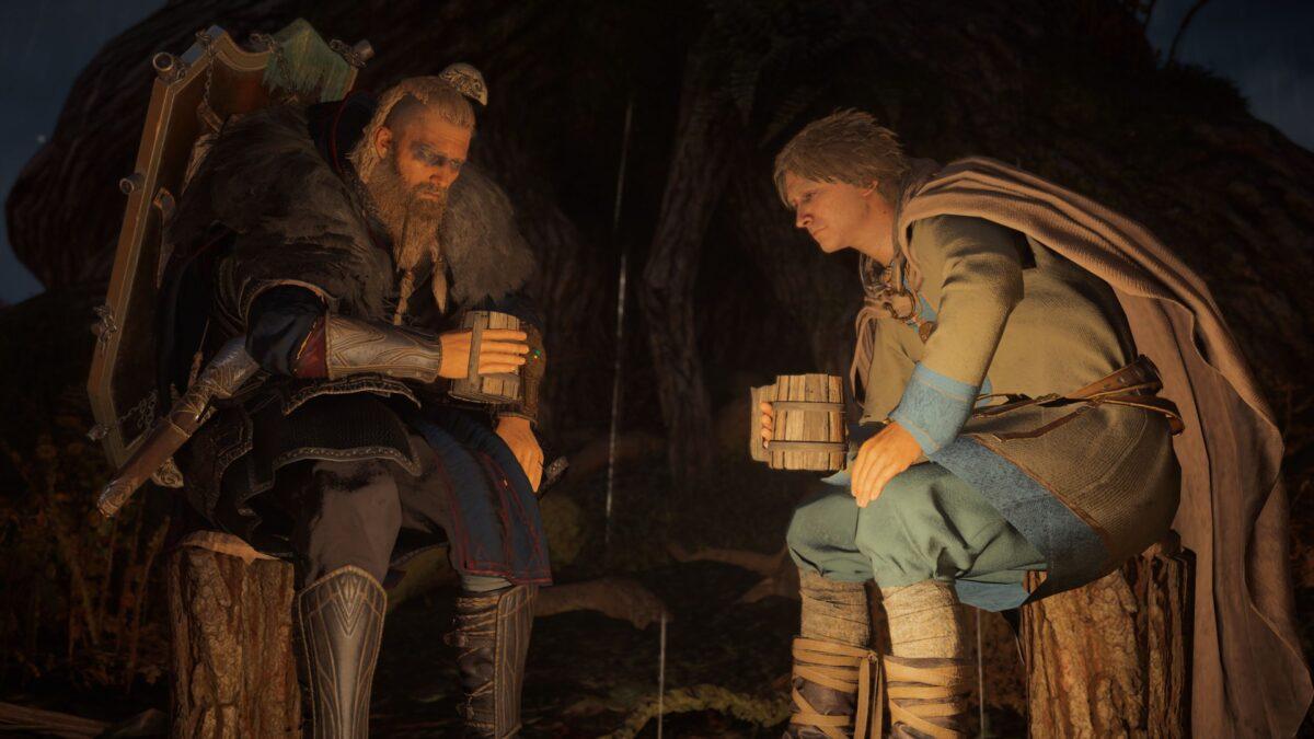Eivor spendet Hunwald am Ausguck des Aldermanns Trost in Assassin's Creed Valhalla.