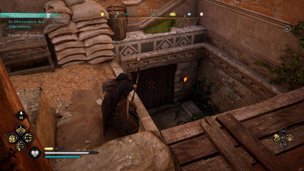 Wikinger Eivor schießt einen Pfeil in die Bretter, um den Zugang zur Kloake von Lincolne in Assassin's Creed Valhalla freizulegen.