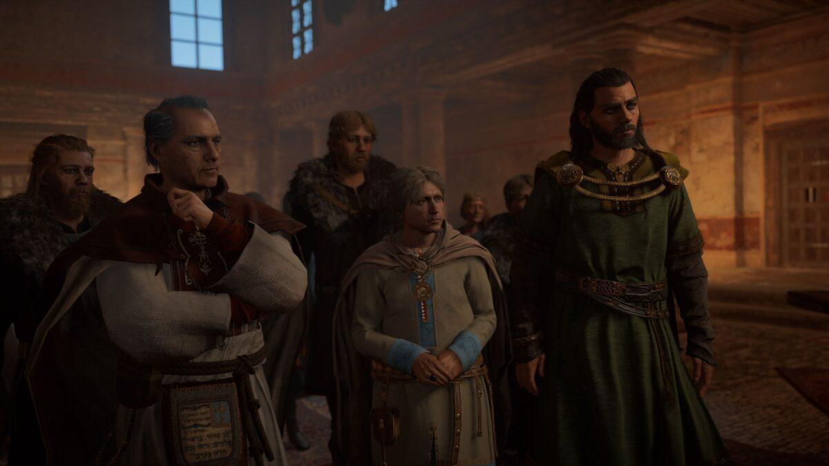 Herefrith, Hunwald und Aelfgar stellen sich in Assassin's Creed zur Wahl als Than von Lincolne.