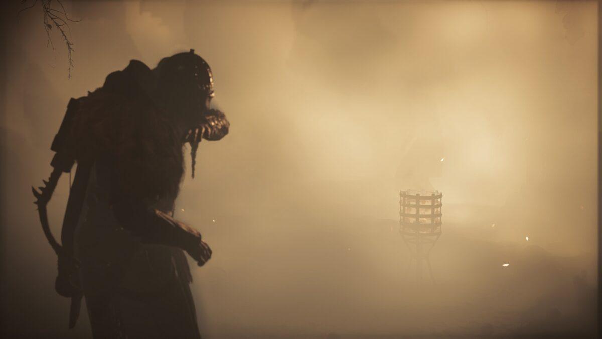 Wikinger Eivor wird mit einer Rauchbombe in Assassin's Creed Valhalla abgelenkt