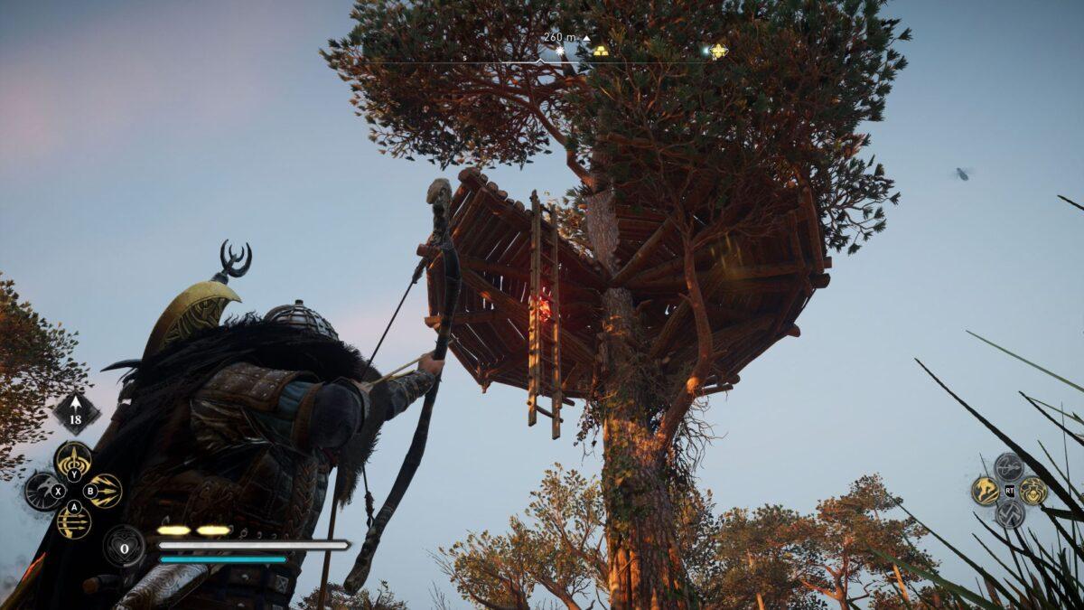 Wikinger Eivor schießt in Assassin's Creed Valhalla einen Pfeil in die Verankerung einer Leiter.