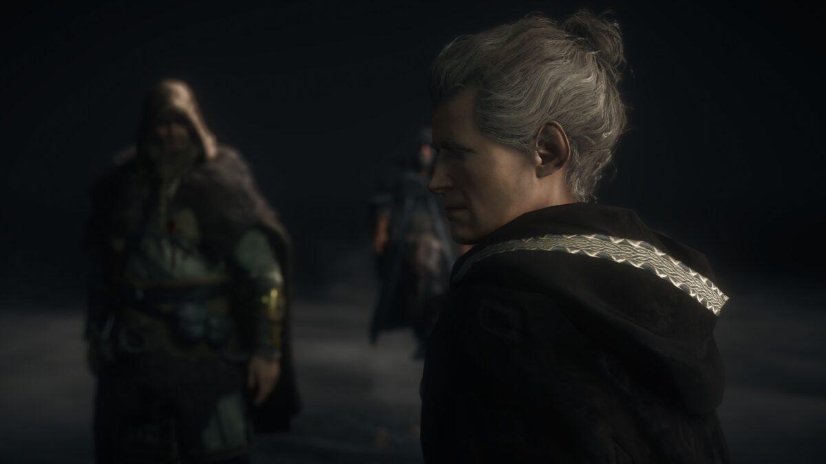 Eivor spricht mit der Feder in Assassin's Creed Valhalla.
