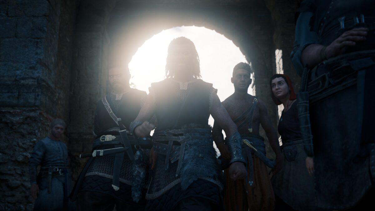 Ein Schlägertrupp marschiert in Assassin's Creed Valhalla am Markt in Lunden ein.