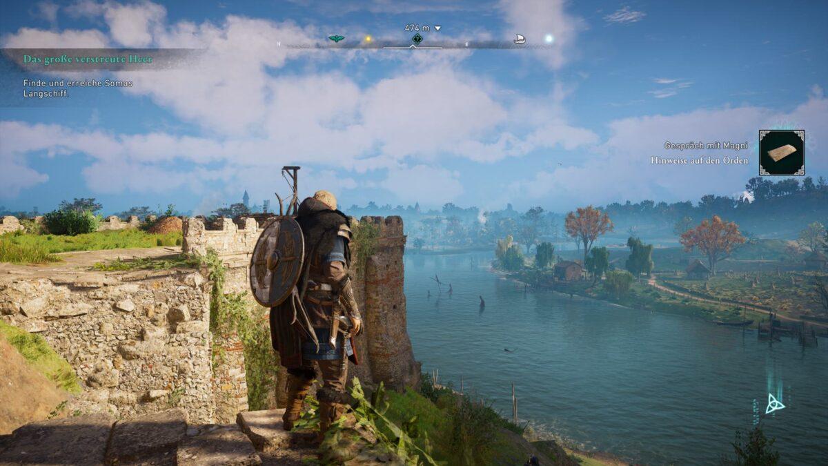 Eivor blickt auf einen Fluss in Grantabrycgscir in Assassin's Creed Valhalla.