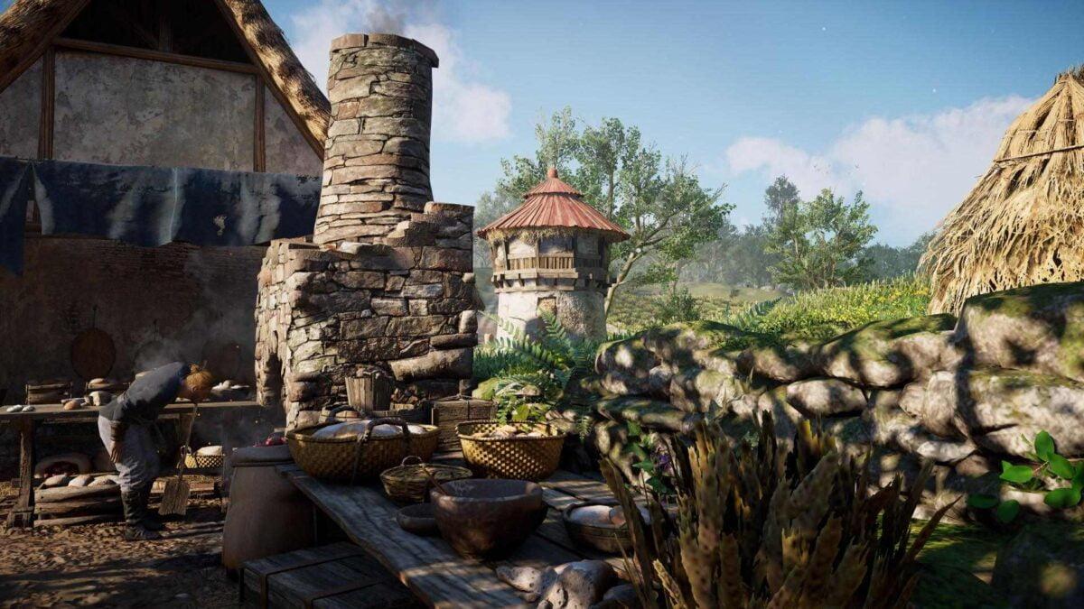 Ein Kornsilo in der Stadt Guldeford in Assassin's Creed Valhalla.