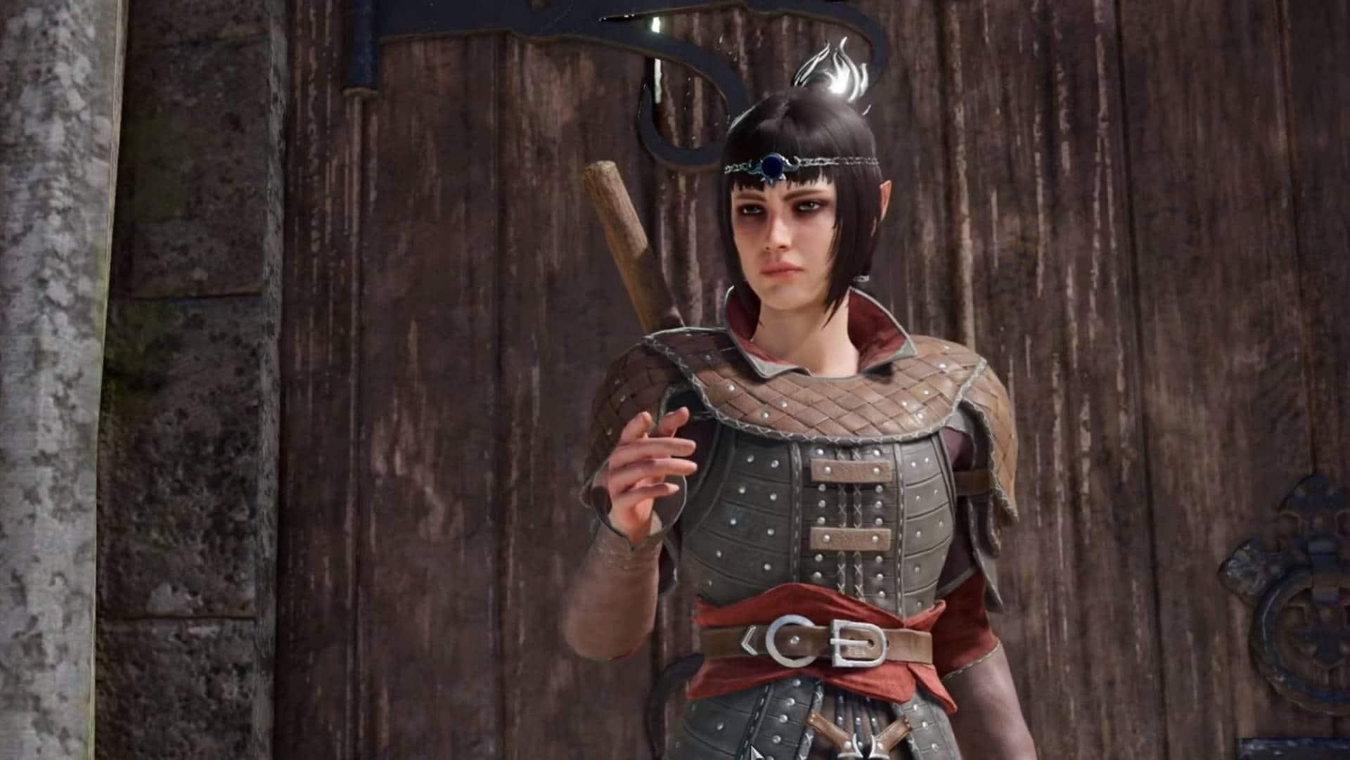 Shadowheart aus Baldur's Gate 3 vor einem Tor im Dialog mit dem Protagonisten
