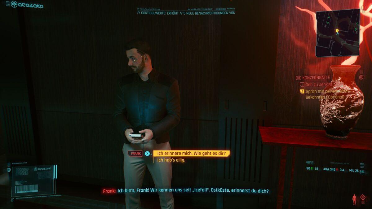 Spricht V mit Frank im Arasaka-Tower, kommt es zu einer geheimen Nebenmission in Cyberpunk 2077.