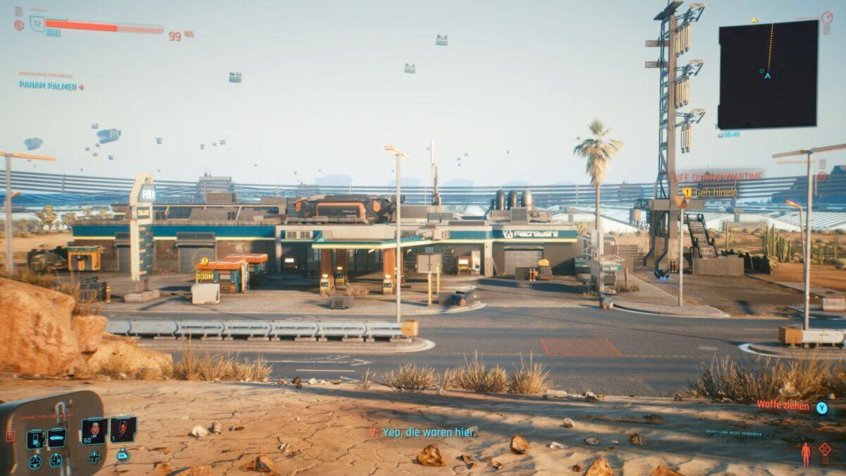 In dieser Tankstelle wird Anders Hellman in Cyberpunk 2077 festgehalten.