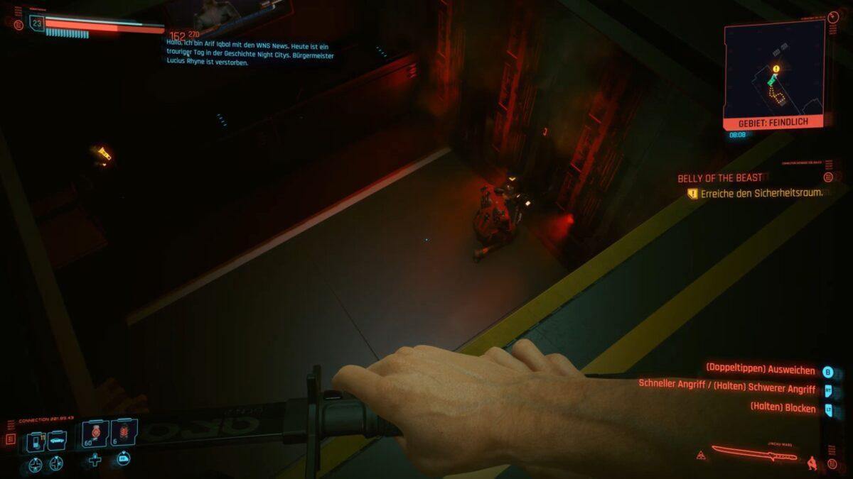 Ein Netrunner arbeitet an einem Terminal im Sicherheitsraum kurz vor Mikoshi in Cyberpunk 2077.