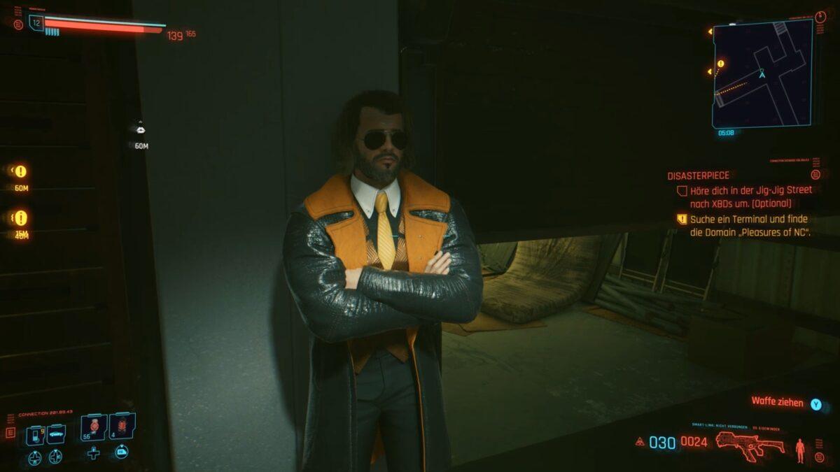 Ein Braindance-Dealer in der Jig-Jig Street in Cyberpunk 2077.