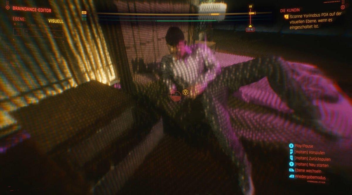In Evelyns Braindance müsst ihr Yorinobus PDA scannen um die Quest Die Kundin in Cyberpunk 2077 abzuschließen.