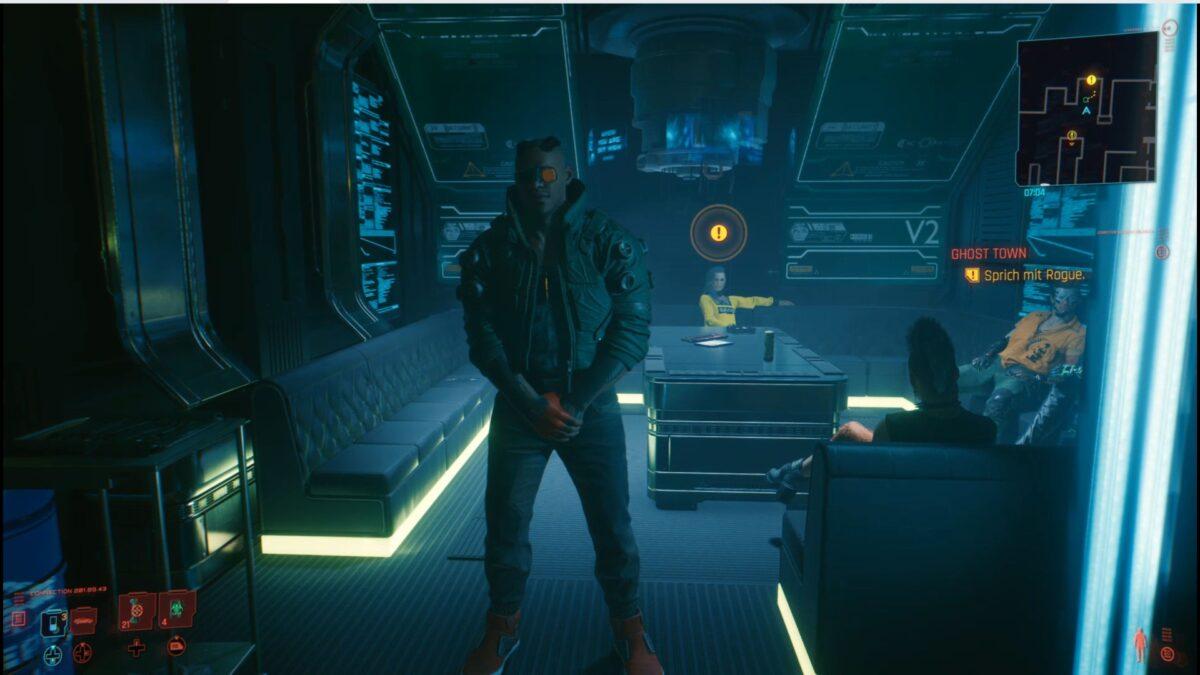 Rogue und ihr Bodyguard Weyland im Afterlife in Cyberpunk 2077.