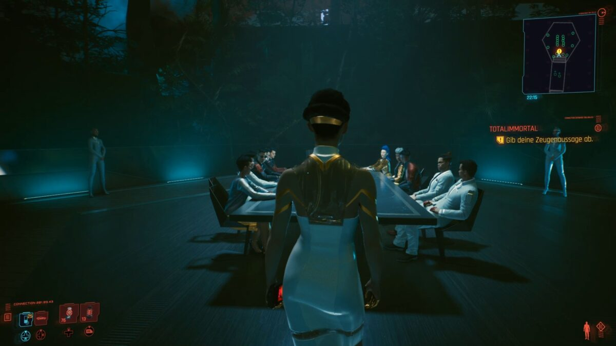 Hanako Arasaka steht vor dem Arasaka-Vorstand in Cyberpunk 2077.