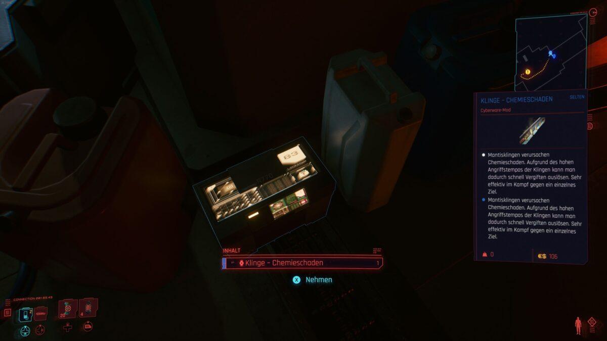 In Cyberpunk 2077 liegt eine nützliche Waffen-Mod in Viktors Klinik.