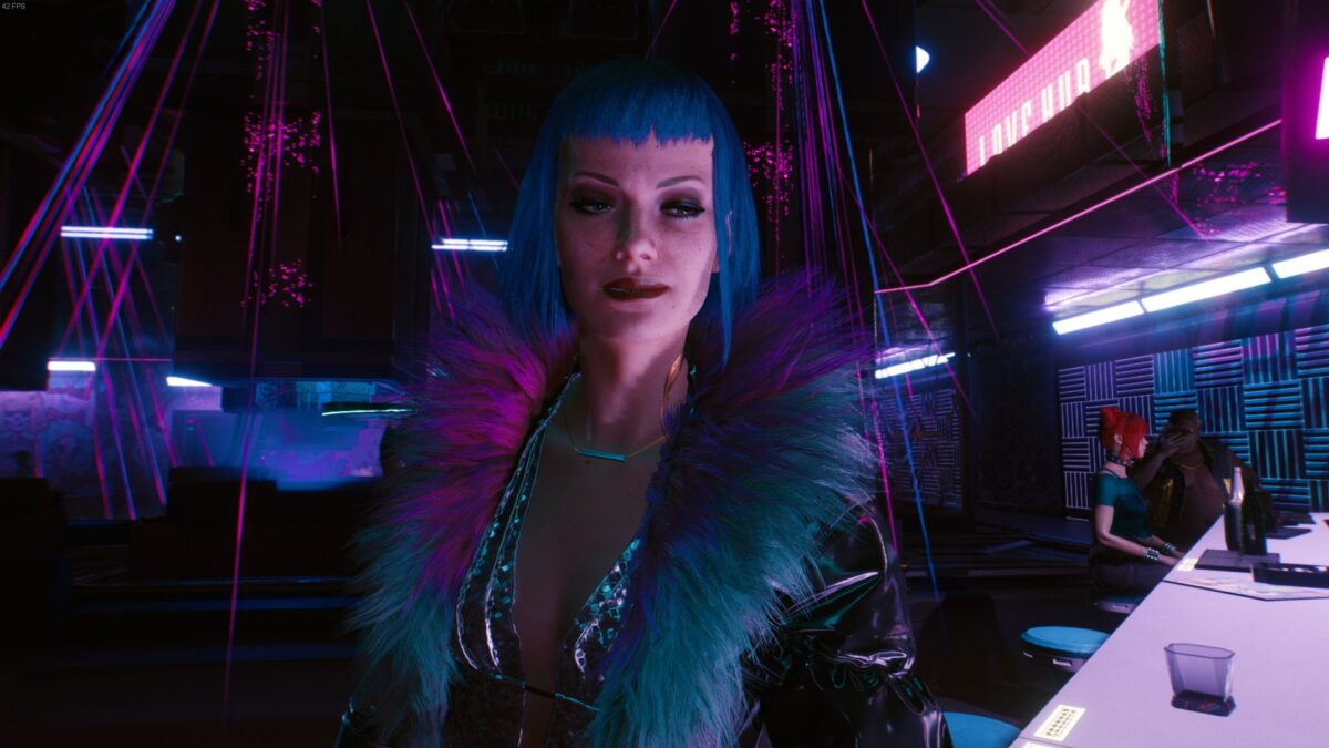 V trifft in Cyberpunk 2077 Evelyn Parker in Lizzie's Bar.