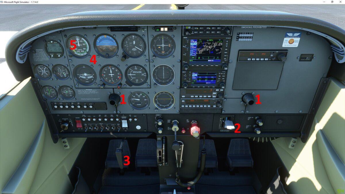 Cockpit und Instrumente der Cessna im Flight Simulator 2020