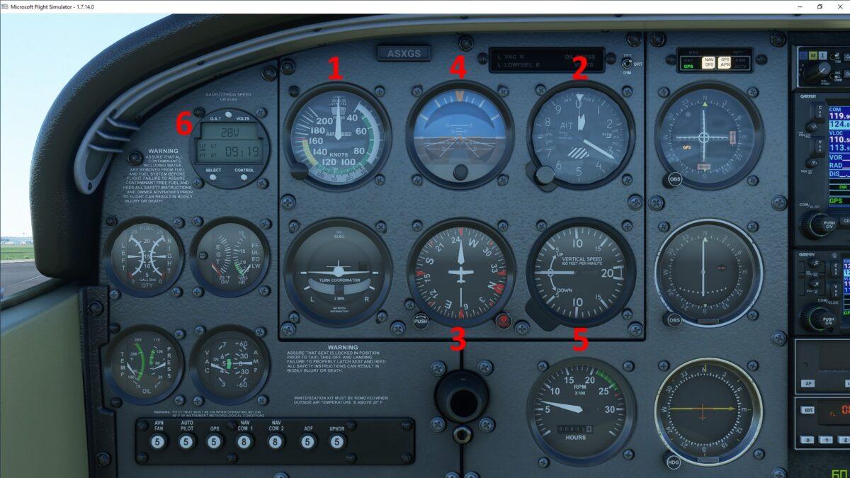 Die Cockpit-Instrumente der Cessna Skyhawk im Flight Simulator 2020