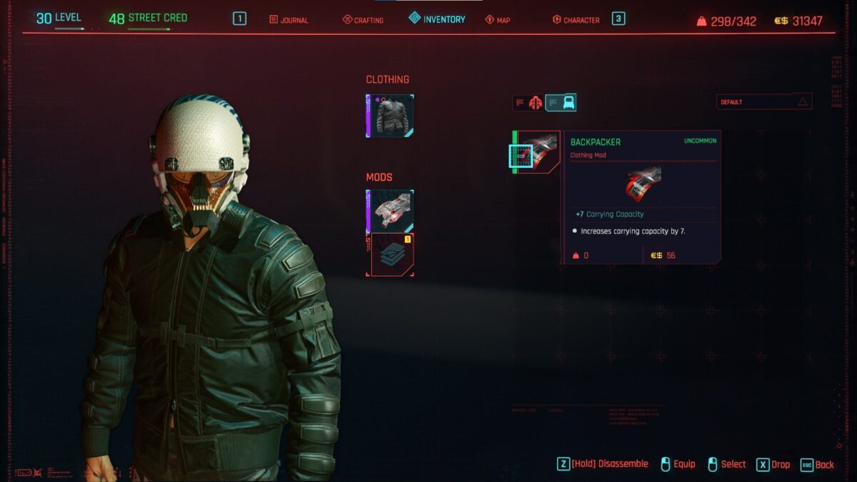 Cyberpunk 2077 Clothing Guide Modslot overview of the fixer upper with two new deployable mods.