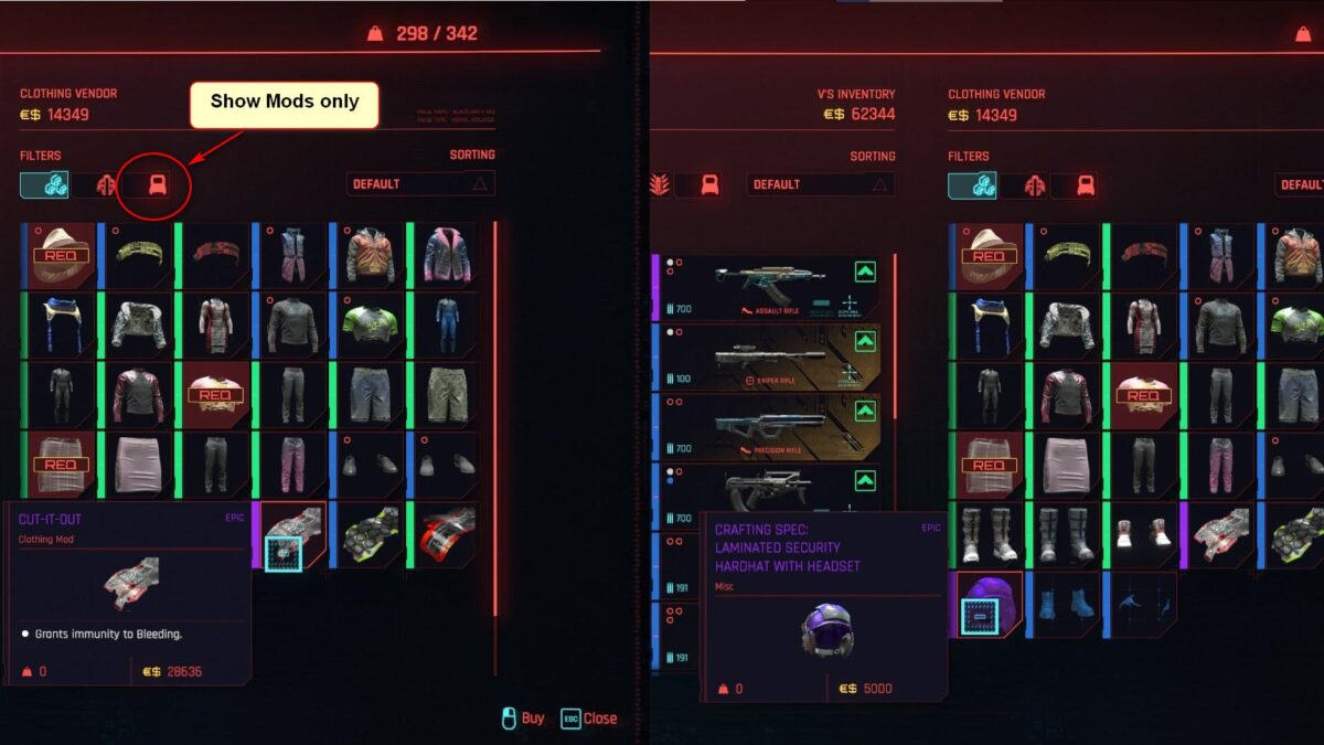 Cyberpunk 2077 Clothing Guide Vendor Inventory with Clothing Mod and Clothing Crafting Spec Comparison