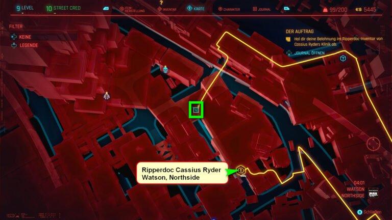 Position der ikonischen Waffe Buzzsaw in Cyberpunk 2077
