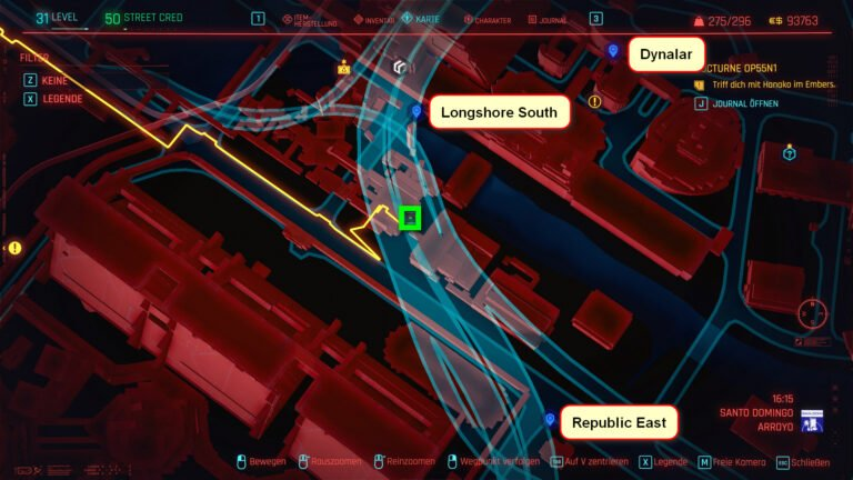Location of the legendary weapon M2038 Tactician on the map of Cyberpunk 2077.