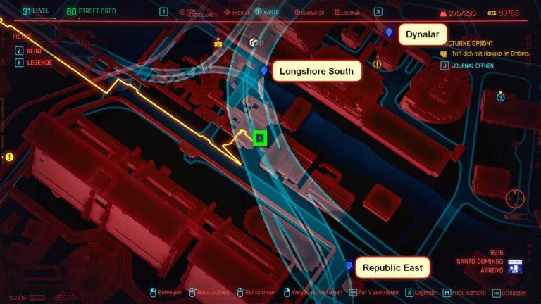Position der legendären Waffe M2038 Tactician auf der Karte von Cyberpunk 2077