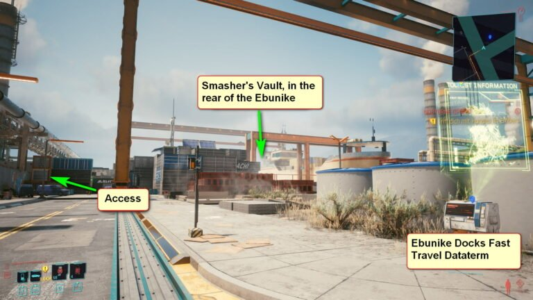 View of the Ebunike docks with markers on how to get to Adam Smasher's vault in Cyberpunk 2077