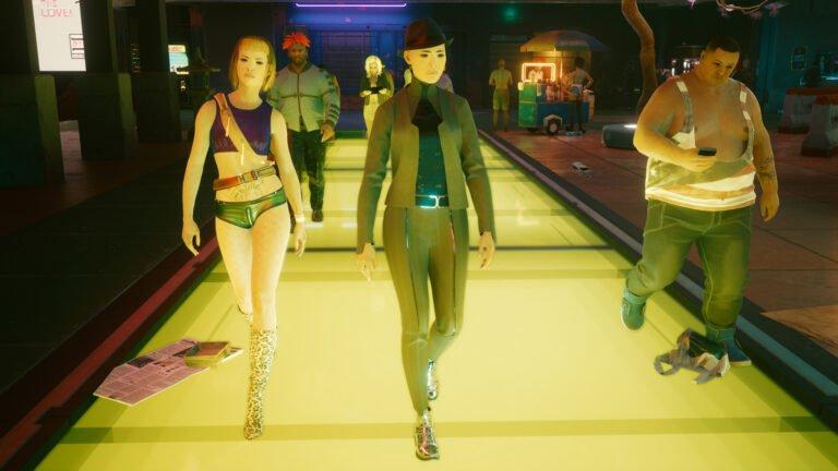 Drei NPCs in Cyberpunk 2077