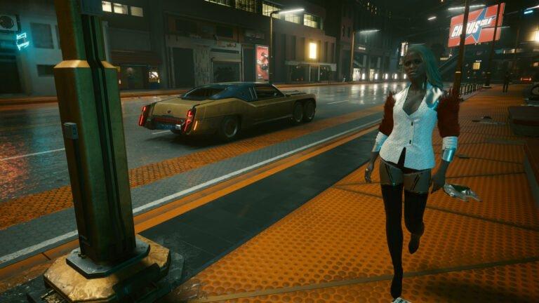 Edel und sexy gekleideter weiblicher NPC in Cyberpunk 2077