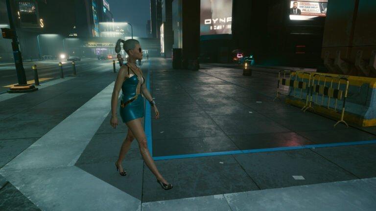 Weiblicer NPC in einem kurzen Kleid in Cyberpunk 2077