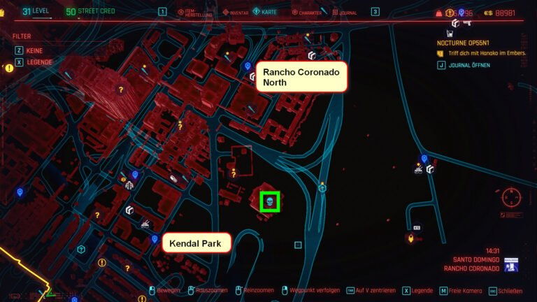 Location of the legendary weapon crafting spec Ashura on the map of Cyberpunk 2077