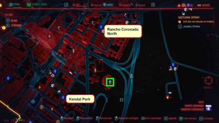 Position des legendären Waffen-Schemas Ashura auf der Karte von Cyberpunk 2077
