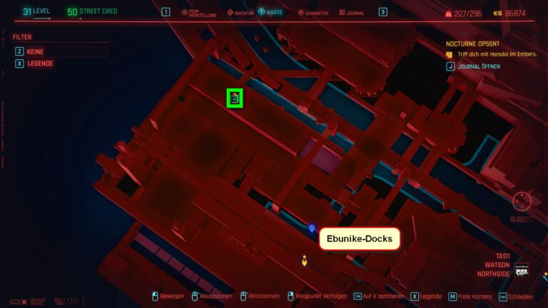 Position of the iconic weapon Ba Xing Chong in Cyberpunk 2077