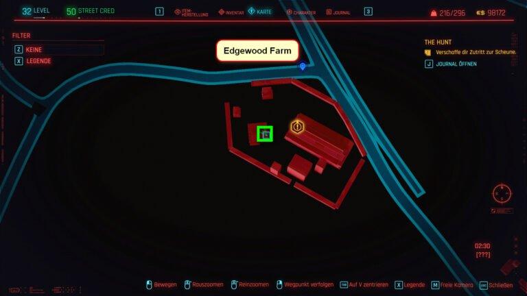 Position der ikonischen Waffe Tinker Bell in Cyberpunk 2077