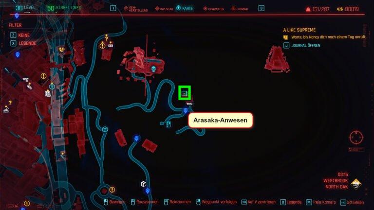 Position für ikonische Waffe Vergoldeter Baseballschläger in Cyberpunk 2077