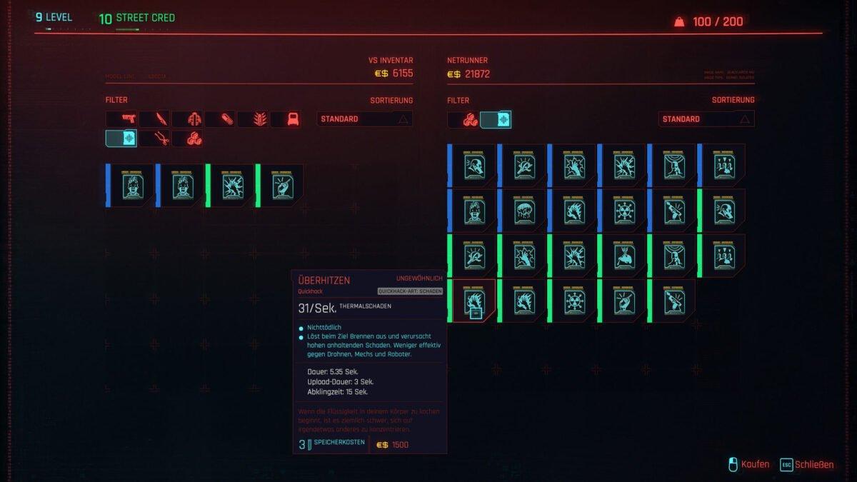 Angebotsfenster eines Ripperdoc in Cyberpunk 2077