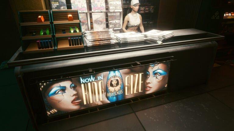 Werbung für Abydos-Alkohol in Cyberpunk 2077