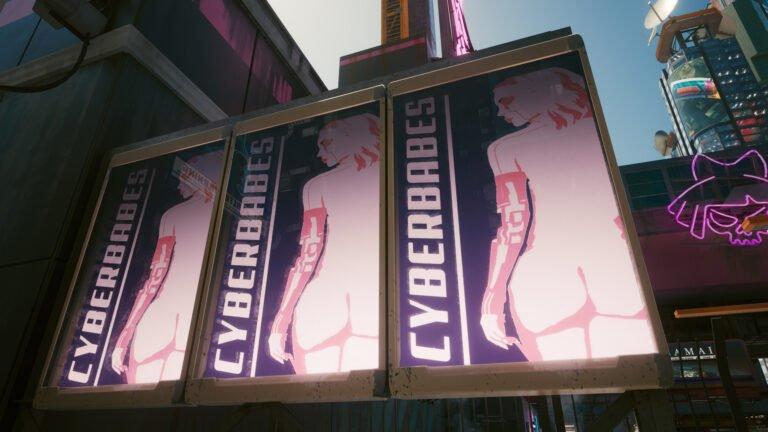 Dreifach-Cyberbabes-Werbung vor dem Lizzies in Cyberpunk 2077