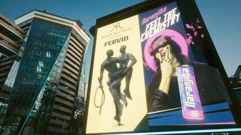 Fervid-Parfum-Werbung und Naranjita-Energy-Drink-Werbung in Cyberpunk 2077
