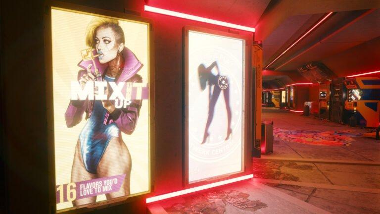Mix it up-Werbung und Twerk Central-Werbung in Cyberpunk 2077